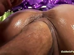 oiled big-titted Milf deep fisting