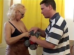 Grandmother in Glasses and Stockings Deep-throats and Fucks
