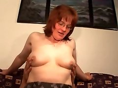Hairy Mature Sandy-haired in Glasses and Stockings Pounds
