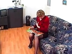 Granny in Glasses and Stockings Enjoys a Pummel