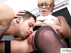 Mischievous grandmother seduces student