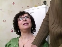 Busty Granny in Pantyhose and Glasses Pounds