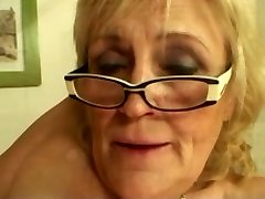 Saggy Titted Grandmother in Glasses and Stockings Fucks More