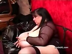 German Goth PLUS-SIZE shows her amazing Hooters