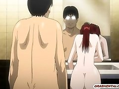 Bigboobs Japanese anime mummy humping bigcock in the restroom