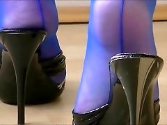 Mature Mules Have Fun In Electric Blue Seamed Tights