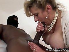 MILF Lady Sonia drains HUGE black boner