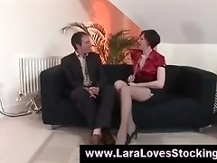 Stockings mature chick in high heels