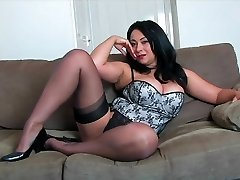 Danica Collins on High High-heeled Slippers and Tights HD