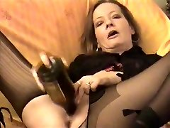 Amateur - crazy Mature twin bottles her pussy & Arse