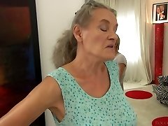 Short haired gal Tricia Nubile fucks a granny and a horny man in 3some