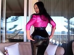 Sexy Busty Latex Diva on the Terrace - Blowjob Handjob with long rosy nails - Cum on my Jugs