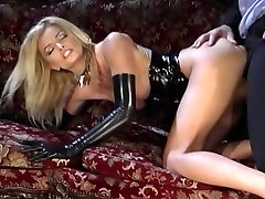 Stunning light-haired in black spandex gets deep drilling on a couch