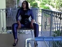 Italy Plane Sexy Latex Lady - Blowjob Handjob with Latex Gloves - Spunk in my Mouth