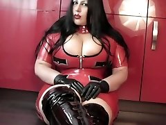 Kitchen Blowjob Handjob with Spandex Gloves - Lady clothed in Spandex uniform Boots - Cum in my Mouth