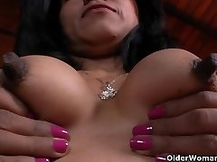 Latina milfs Allison and Veronica get turned on by fresh nylon