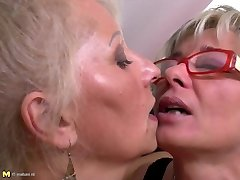 Ideal mature mothers at girl-on-girl threesome