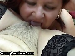Horny redhead aged lady loves eating