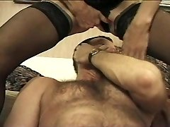 Spurting Grannie Rides His Face & Cock