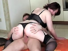 Mature in lingerie fucked by younger dude
