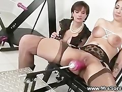 Gagged hoe and her pounding machine