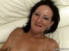 Shabby black-haired mom gets her moist punani impaled with dildo machine