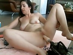 Tight Brunette Trying Her Fresh Plowing Machine