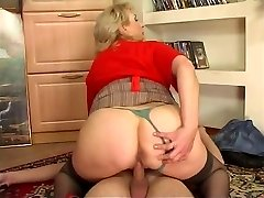 Russian busty maid banged by young man at home