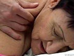 Grannie eats a youthful guy'_s cum