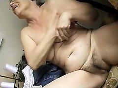 Horny Aged chubby Granny Draining with dildo
