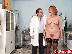 Redhead gran pussy wide open at gyno clinic