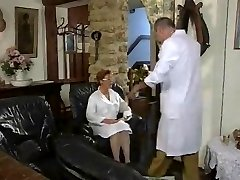 Mature French Nurse pummeled by two Fellows