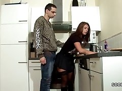 Step-Son Seduce MILF Mom to Shag and Spunk on Stockings