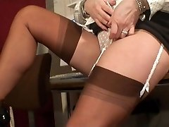 Beautiful Stocking Teasing COUGAR in Busy Office