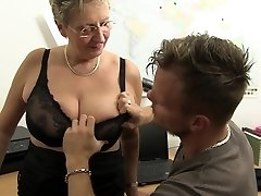 GONZO OMAS - Dirty Germany granny takes lollipop at the office