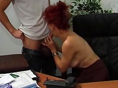 Steaming Euro Mature Red-haired Bangs In Office