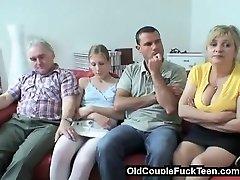 Aged couple entices newlyweds