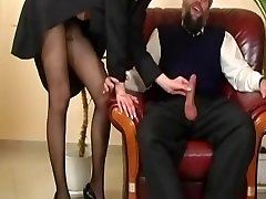 Readheat in Pantyhose is getting drilled by older guy