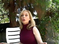 Blonde housewife sits by the pool when dude c