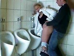 Man fucks a mature in a public shower