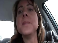 Sexy COUGAR is so horny she plays with her beaver in public
