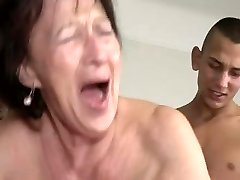 Granny Loves Young Guy's Balls and Ass