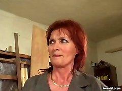 Redhead grannie loves anal invasion