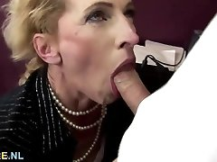 Wooly brown-haired mature gets anal creampied