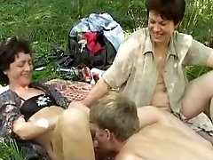 Horny russian picnic with immense b(.)(.)bs mature