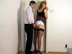 Fondling against secretary satin panties