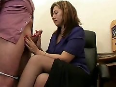 Hot Mature Secretary Wanks The Jizz From Bosses Cock !