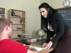 Teacher drills schoolgirl in bathroom