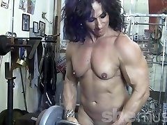 Annie Rivieccio Naked Woman Bodybuilder in the Gym