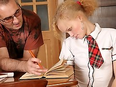 TrickyOldTeacher - Blonde student strips naked and fucks hot mature teacher to pass class